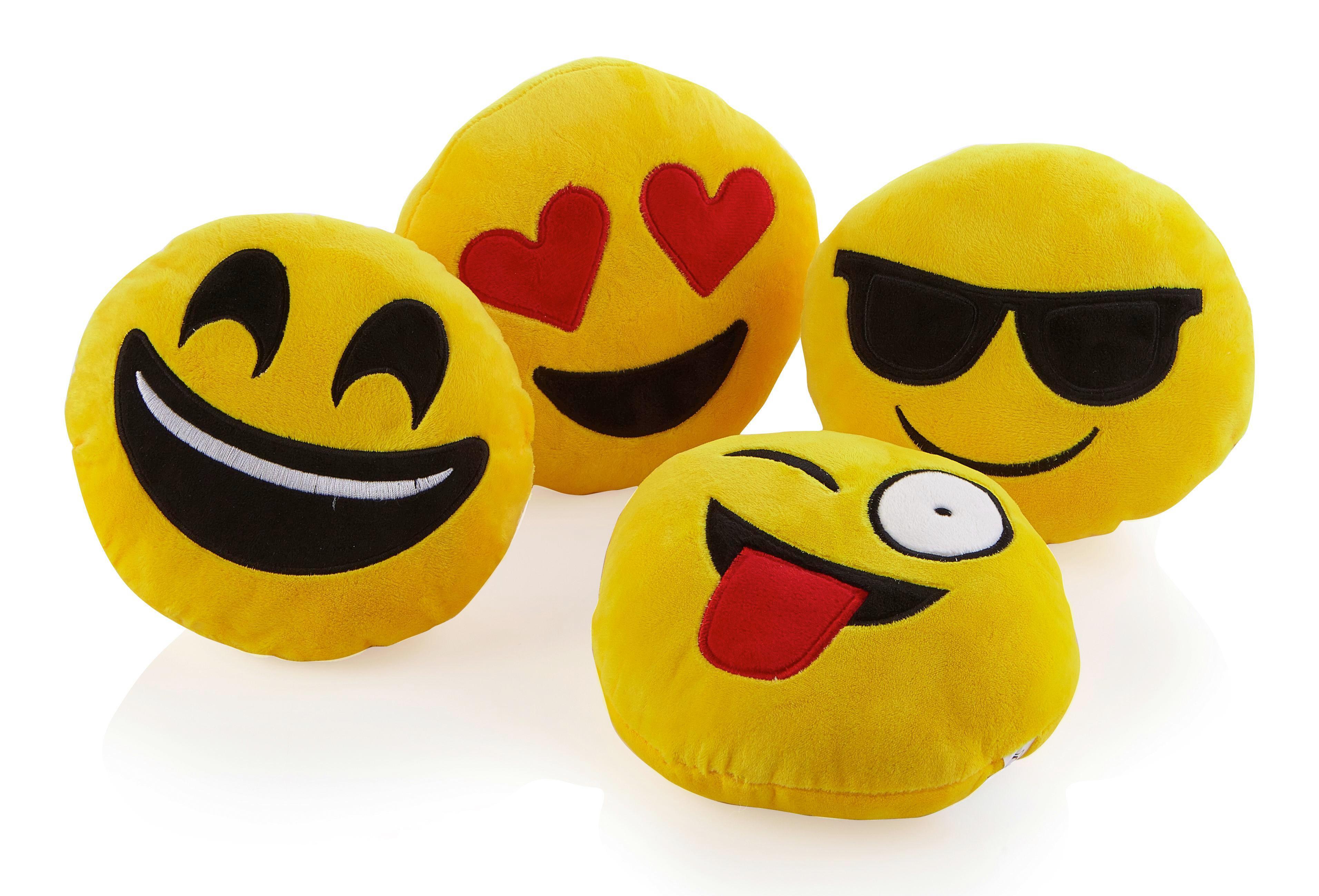 Polštář Ozdobný Emoji -ext- - žlutá, textil (20cm) - MÖMAX modern living