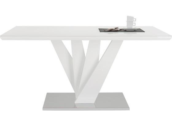 Jedálenský Stôl Samuel - biela/farby ušľachtilej ocele, Moderný, kov/kompozitné drevo (160/76/90cm) - Mömax modern living