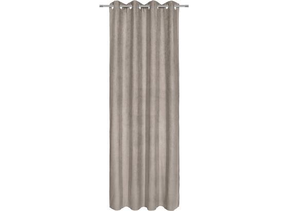 Závěs S Kroužky Velours -top- - šedá, Konvenční, textil (140/245cm) - Mömax modern living