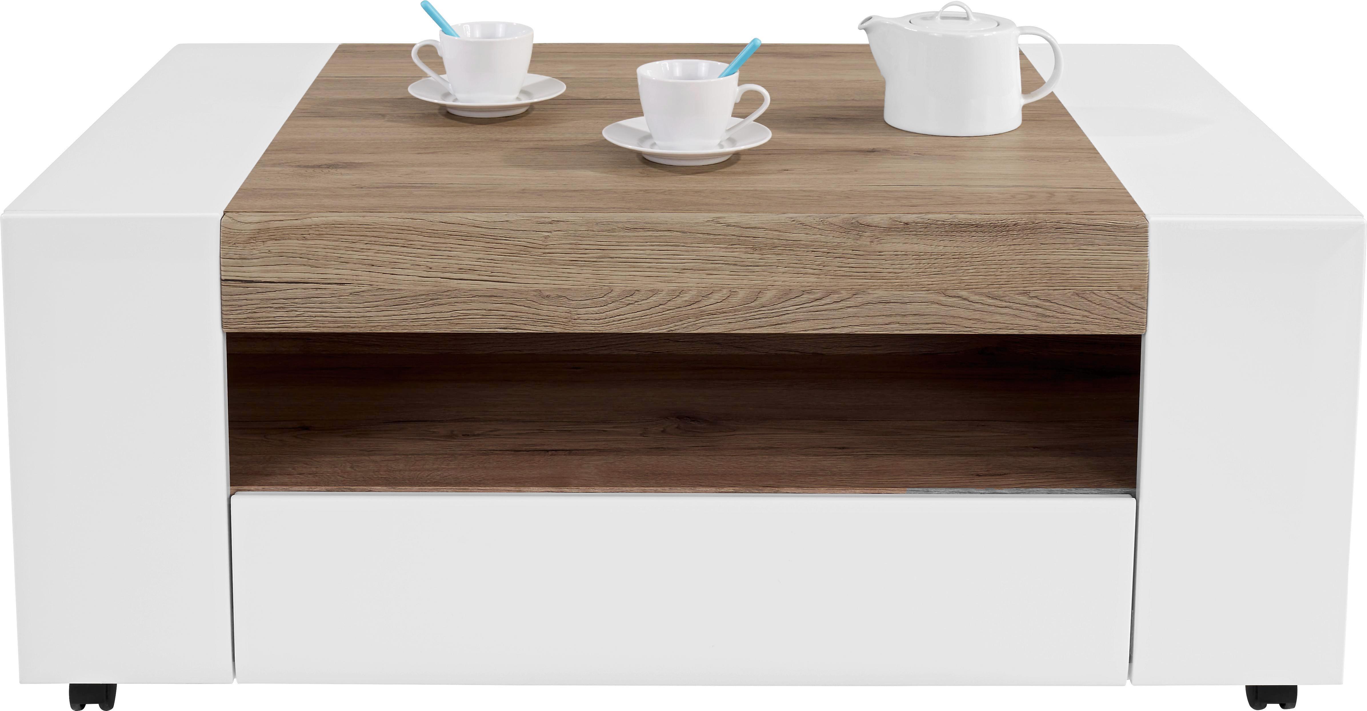 Dohányzóasztal Toronto - tölgy színű/fehér, modern, műanyag/faanyagok (110/48,3/75cm) - OMBRA