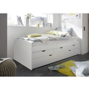 Stauraumbett Ausziehbar 90x200 Nessi, Weiß - Weiß, Basics, Holzwerkstoff (90/200cm) - MID.YOU