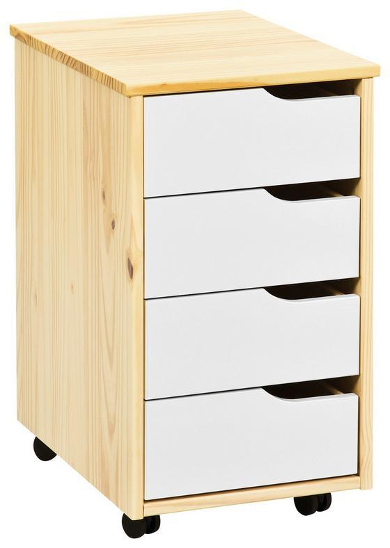 Pojízdný Kontejner Gudjam - bílá/přírodní barvy, Moderní, dřevo/kompozitní dřevo (37/65/45cm)