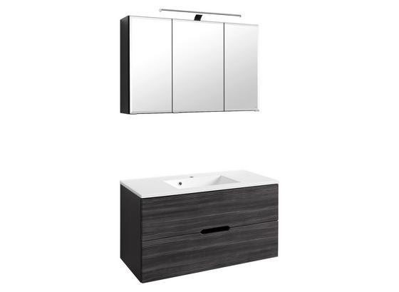 Badmöbel-Set 2-Tlg. inkl. Led Belluno B: 100cm, Lärche Dekor - Lärchefarben/Graphitfarben, Basics, Holzwerkstoff/Stein (100/48cm) - MID.YOU