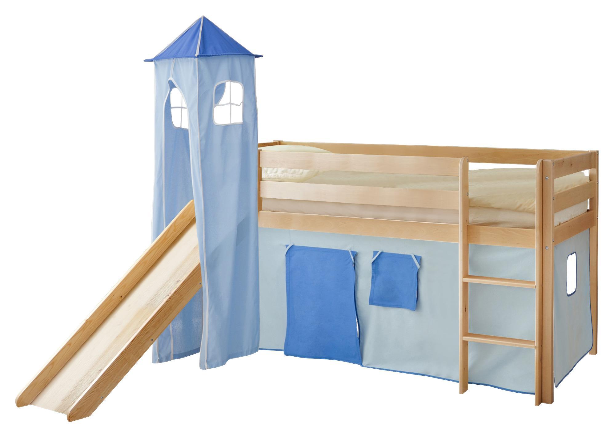 Spielbett aus massiver Kiefer mit Vorhang in Blau