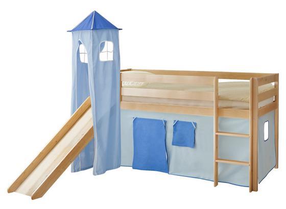Spielbett Kasper 90x200 cm Hellblau - Dunkelblau/Kieferfarben, Natur, Holz (90/200cm) - MID.YOU