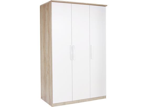 Skříň Šatní Wien - bílá/barvy dubu, Konvenční, kompozitní dřevo (136/212/56cm)