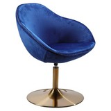 Polsterstuhl Sarin Samtbezug Blau mit Standfuß Gold - Blau/Goldfarben, MODERN, Textil (70/79/70cm) - MID.YOU