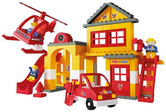 Bausteine Unico Plus Feuerwehrstation - Gelb/Rot, Kunststoff - Unico Plus