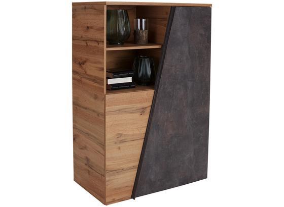 Komoda Highboard Venedig - farby dubu/tmavohnedá, Konvenčný, kompozitné drevo (98/138/42cm)