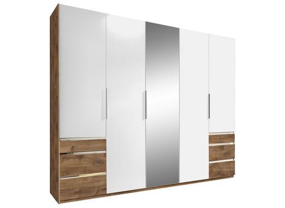 Drehtürenschrank mit Spiegel 250cm Level 36a, Weiß Dekor - Eichefarben/Weiß, MODERN, Glas/Holzwerkstoff (250/216/58cm)