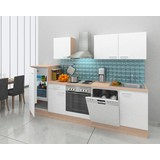 Küchenblock Economy 280cm Weiß - Eichefarben/Weiß, Basics, Holzwerkstoff (280/200/60cm) - Livetastic