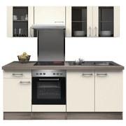 Küchenblock Eico 210 cm Magnolie - Edelstahlfarben/Eichefarben, MODERN, Holzwerkstoff (210/60cm)