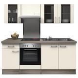 Küchenblock Eico 210cm Magnolie - Edelstahlfarben/Eichefarben, MODERN, Holzwerkstoff (210/60cm) - Bessagi Home