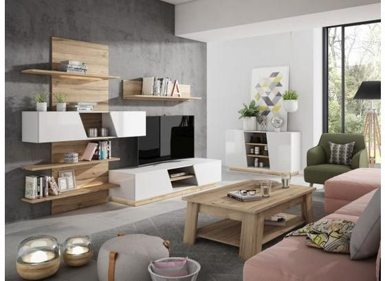 Obývacia Stena Mike - farby dubu/biela, Moderný, kov/kompozitné drevo (296/202,8/51,8cm)