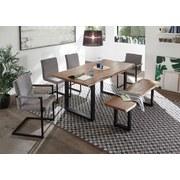 Stuhl Lia Webstoff Grau Gepolstert - Schwarz/Grau, Design, Textil/Metall (46/90/57cm) - Livetastic