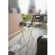 Beistelltisch D: ca. 55 cm Goldfarben - Goldfarben/Weiß, Design, Holzwerkstoff/Metall (55/57/55cm) - Carryhome
