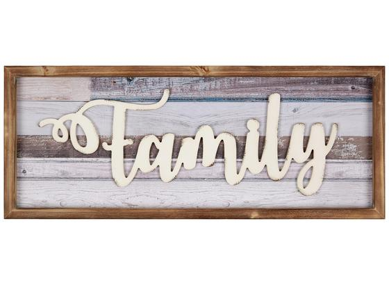 Holzbild Family - Blau/Creme, KONVENTIONELL, Holz/Holzwerkstoff (60/24/2,5cm) - Ombra