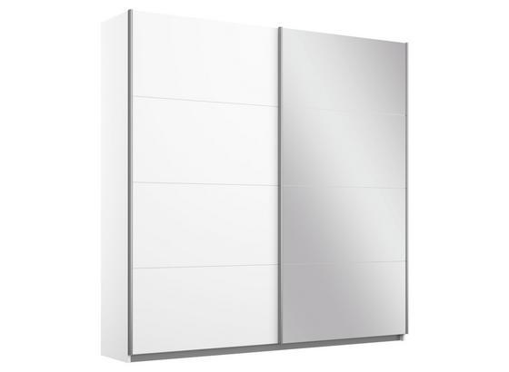 Schwebetürenschrank Belluno B:181cm Weiß Dekor/ Spiegel - Weiß, MODERN, Holzwerkstoff (181/230/62cm)