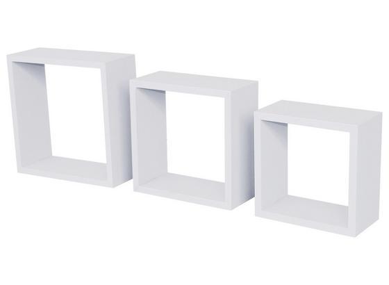 Nástenný Regál Simple 3 - biela, Moderný, umelá hmota (30/30/12cm)
