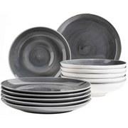 Tafelservice 12-Tlg Tafelservice Derby - Grau, Basics, Keramik (32/32/30cm) - Mäser