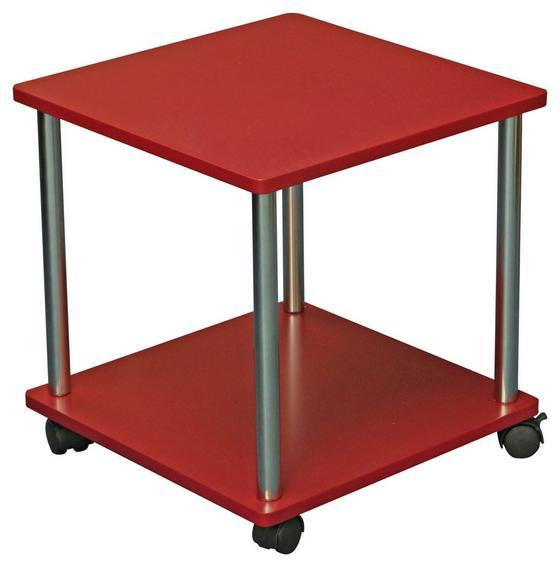 Kisasztal Paul - Króm/Piros, modern, Faalapú anyag/Műanyag (40/41,5/40cm)
