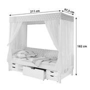 Himmelbett Lino 90x200 cm Weiß/ Hellrosa - Hellrosa/Weiß, MODERN, Holz (90/200cm) - MID.YOU