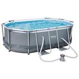 Bestway Schwimmbecken Power Steel Oval - Grau, MODERN, Kunststoff/Metall (300/200/84cm) - BESTWAY