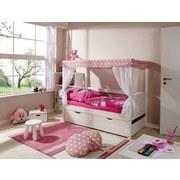 Himmelbett inkl. Matratze 80x160 Lino Mini, Rosa/Weiß - Rosa/Weiß, MODERN, Holz (80/160cm) - Livetastic