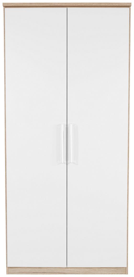 Skříň Šatní Wien - bílá/barvy dubu, Konvenční, dřevěný materiál (91/212/56cm)