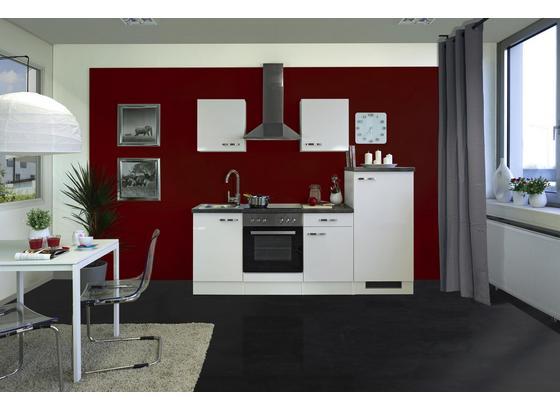 Küchenblock Alba 220 cm Weiß Hochglanz