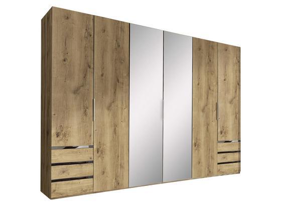 Drehtürenschrank mit Spiegel 300cm Level 36a, Eichendekor - Eichefarben, MODERN, Glas/Holzwerkstoff (300/216/58cm)