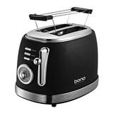 Toaster Armin - Edelstahlfarben/Schwarz, KONVENTIONELL, Kunststoff/Metall (27,4/19,4/19,4cm) - Bono