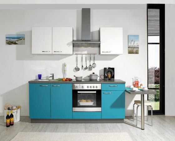 Küchenblock win türkis weiß modern kunststoff 200cm express