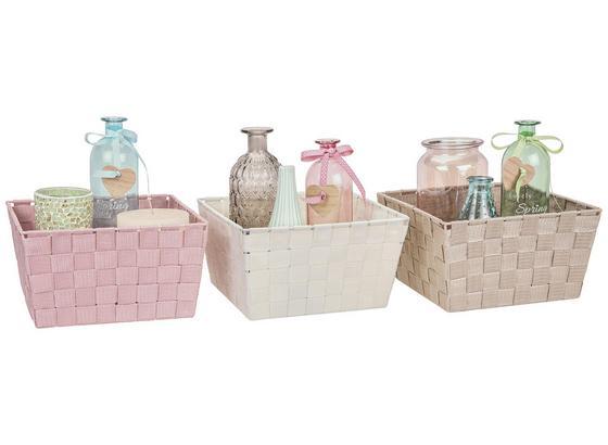 Tárolókosár Gerta - Bézs/Rózsaszín, konvencionális, Műanyag (25/25/14cm) - Ombra