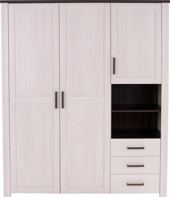 Ruhásszekrény Provence - lucfenyő színű/vörösfenyő szín, romantikus/Landhaus, faanyagok (166/200/60cm)