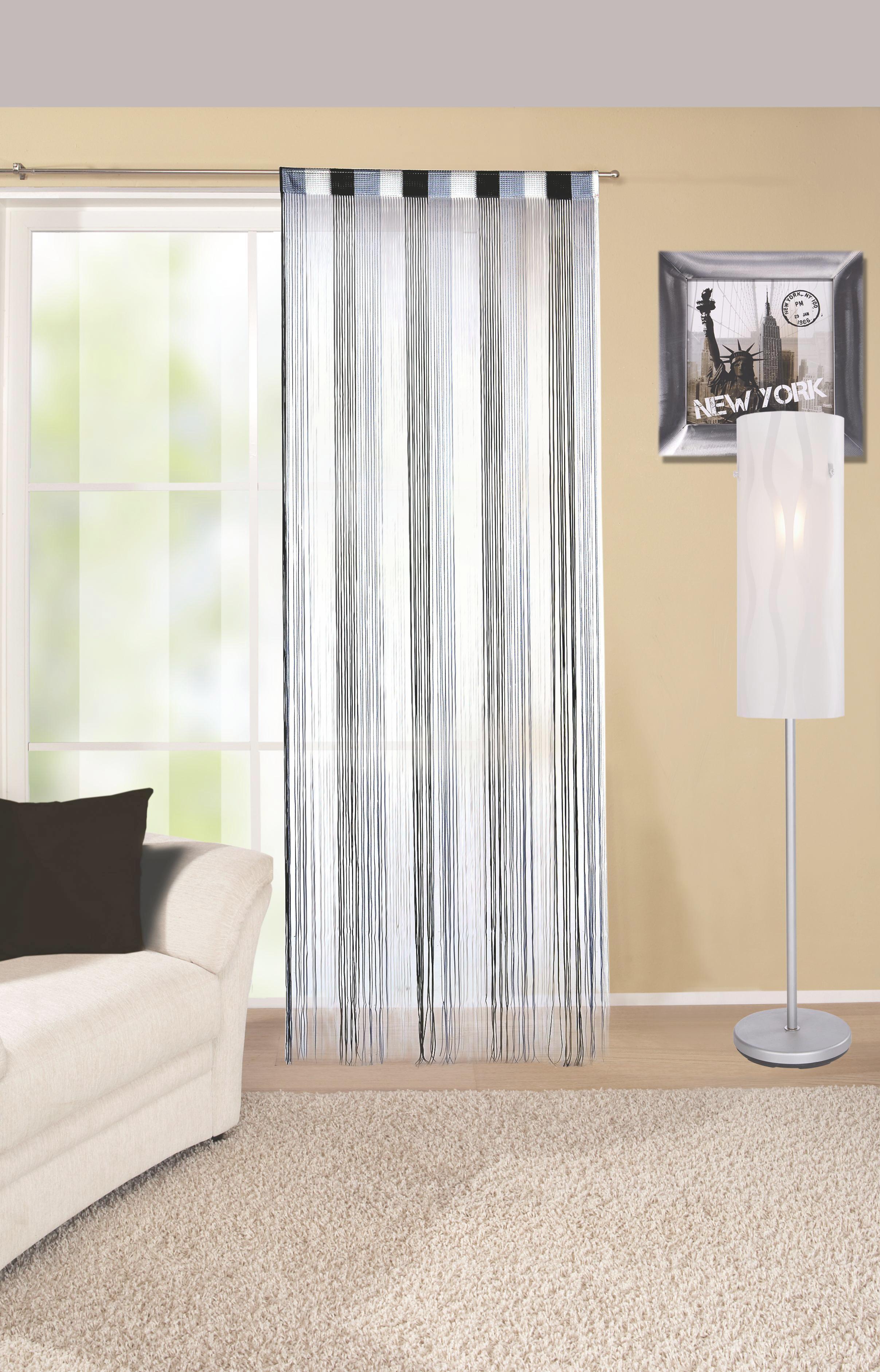 Fadenvorhang Stangendurchzug Rita B: 90cm Grau/Schwarz/Weiß - Beispielbild Wohnzimmer