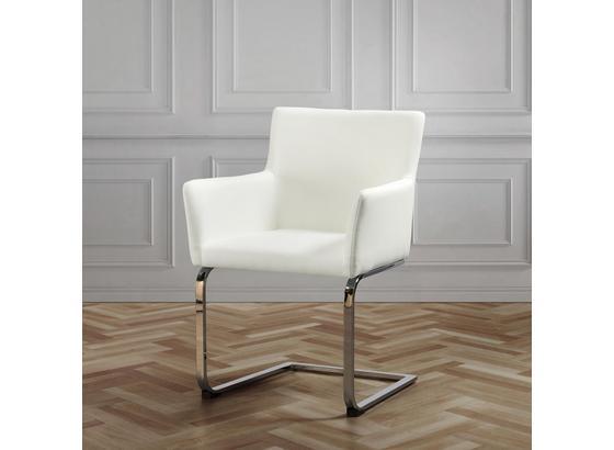 Stolička S Podrúčkami Vanessa - biela/chrómová, Moderný, kov/drevo (62,5/87/56cm) - Modern Living