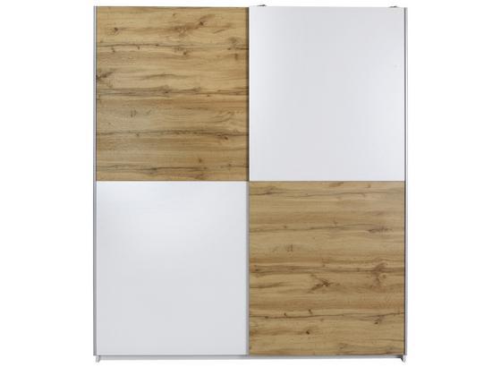 Schwebetürenschrank 170cm Puls, Weiß/ Wotan Eiche Dekor - Eichefarben/Weiß, KONVENTIONELL, Holzwerkstoff (170/195/59cm)