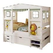 Spielbett Massiv mit Matratze 80x160cm Lion Mini, Weiß - Weiß/Naturfarben, MODERN, Holz/Kunststoff (80/160cm) - MID.YOU