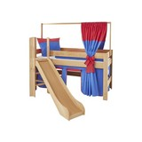 Spielbett Leo 90x200 cm Buche Massiv - Rot/Dunkelblau, Design, Holz/Textil (90/200cm) - MID.YOU