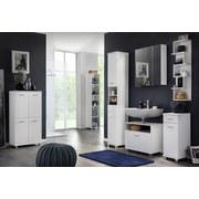 Hochschrank Lumo B: 30,3 cm Weiß - Chromfarben/Weiß, MODERN, Holzwerkstoff (30,3/193,7/32,6cm) - MID.YOU