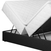 Boxspringbett mit Topper & Bettkasten 180x208cm Silvia - Dunkelgrau/Schwarz, Basics, Holz/Holzwerkstoff (180/200cm) - MID.YOU