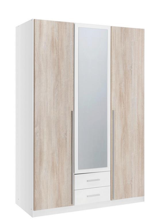 Szekrény Skate - tölgy színű/fehér, modern, fa (135/197/58cm)