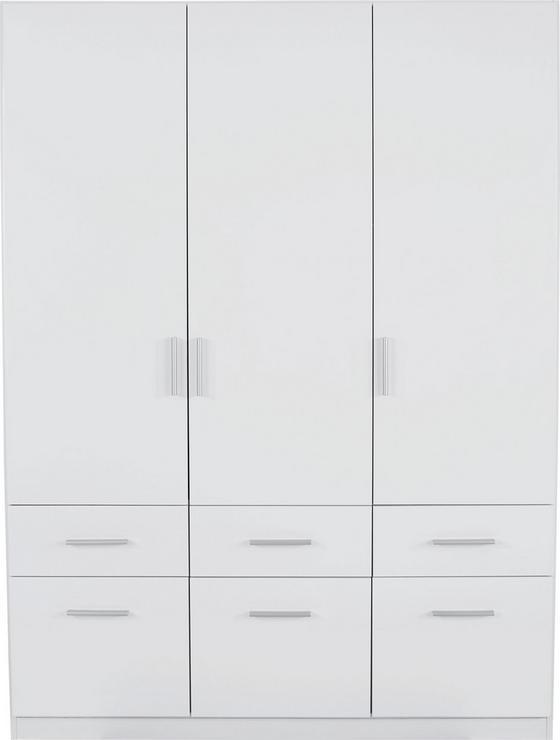Kleiderschrank Celle, 3-türig - Weiß, MODERN, Holz (136/197/54cm)