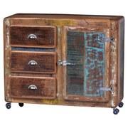 Kommode Lissabon B: 100 cm Altholz - Blau/Silberfarben, Basics, Holz/Metall (100/90/40cm)
