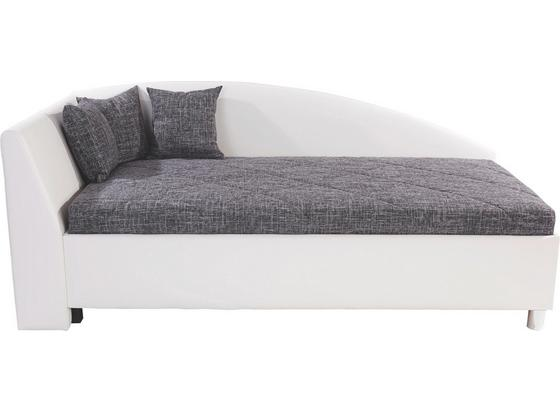 Polsterbett Andrew 110x200 Weiß/Grau - Silberfarben, MODERN, Textil (110/200cm)