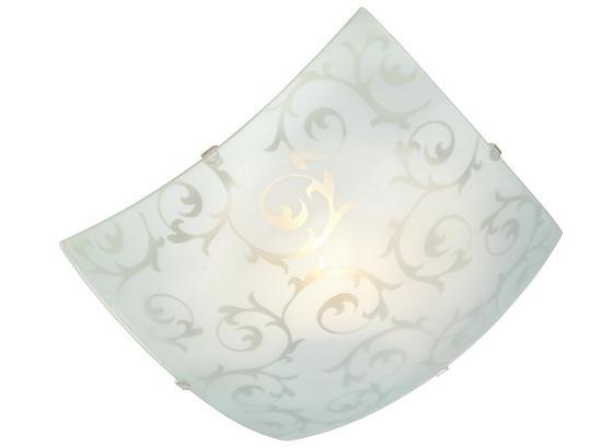 Deckenleuchte Julia 25x25 cm mit Floralen Ornamenten - Weiß, KONVENTIONELL, Glas/Metall (25/25/8,5cm) - Ombra