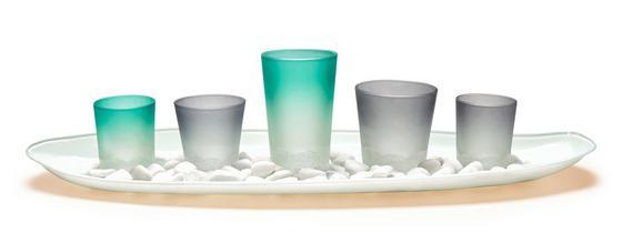 Teelichthalter-Set Kerry - Blau/Weiß, KONVENTIONELL, Glas/Stein - Ombra