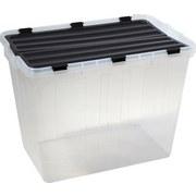 Box mit Deckel Flipper, 80 Liter - Transparent/Schwarz, KONVENTIONELL, Kunststoff (58/39/43cm) - PLAST 1