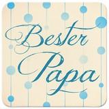 Glasuntersetzer Papa - Blau/Hellgelb, KONVENTIONELL, Holz (9,5/9,5/0,4cm)
